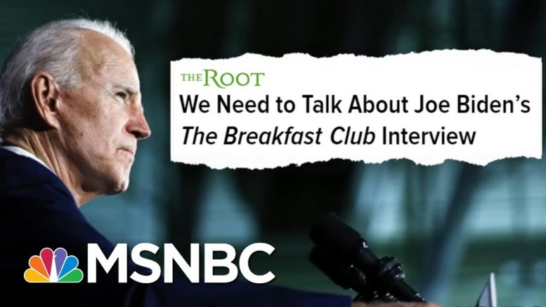 Invoking Obama, Biden Faces 'Debt' To Black Voters In Clash With Radio Host Charlamagne' | MSNBC 1