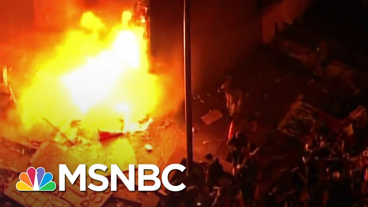 Minneapolis Police Station On Fire Amid Protest Of George Floyd's Killing   The 11th Hour   MSNBC 6