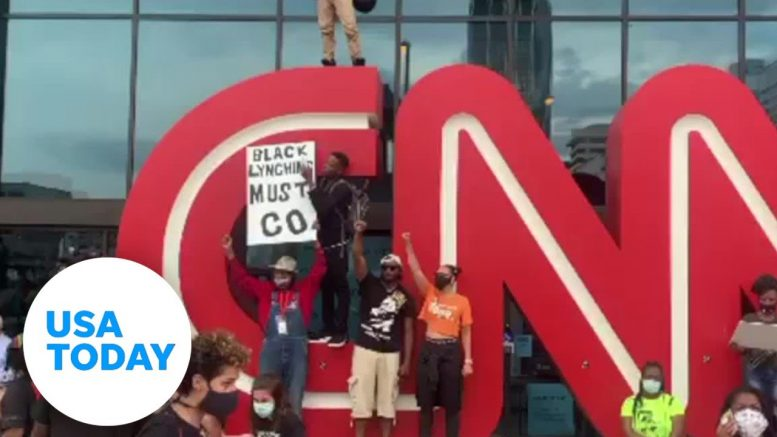 CNN building vandalized during Floyd protests | USA TODAY 1