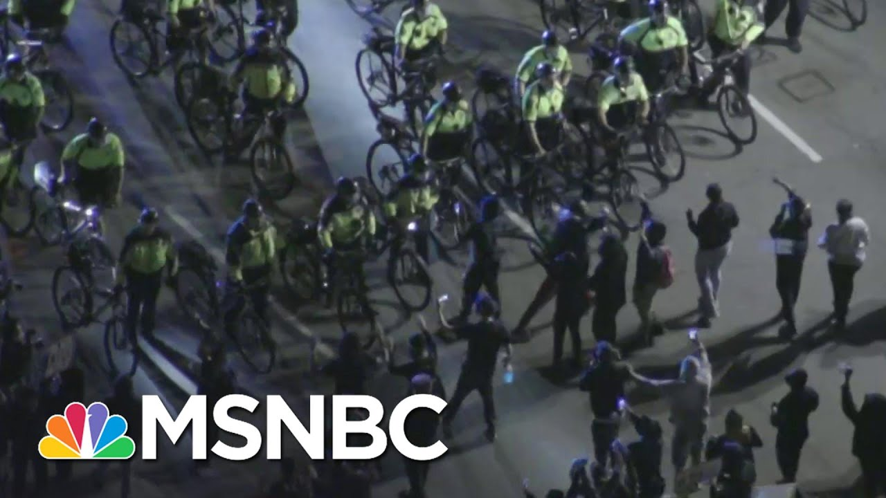 Protesters, Bike-Mounted Police Face Off In Boston | MSNBC 8