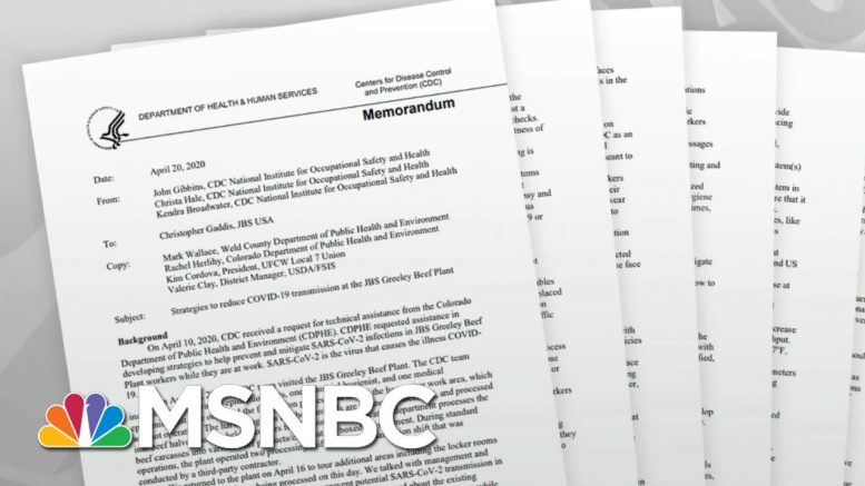 Marked Change In Tone In CDC Meat Plant Reports Raises Questions   Rachel Maddow   MSNBC 1