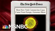 Virus Spread Sooner Than Thought, Mostly Came From Europe: Report | Morning Joe | MSNBC 3