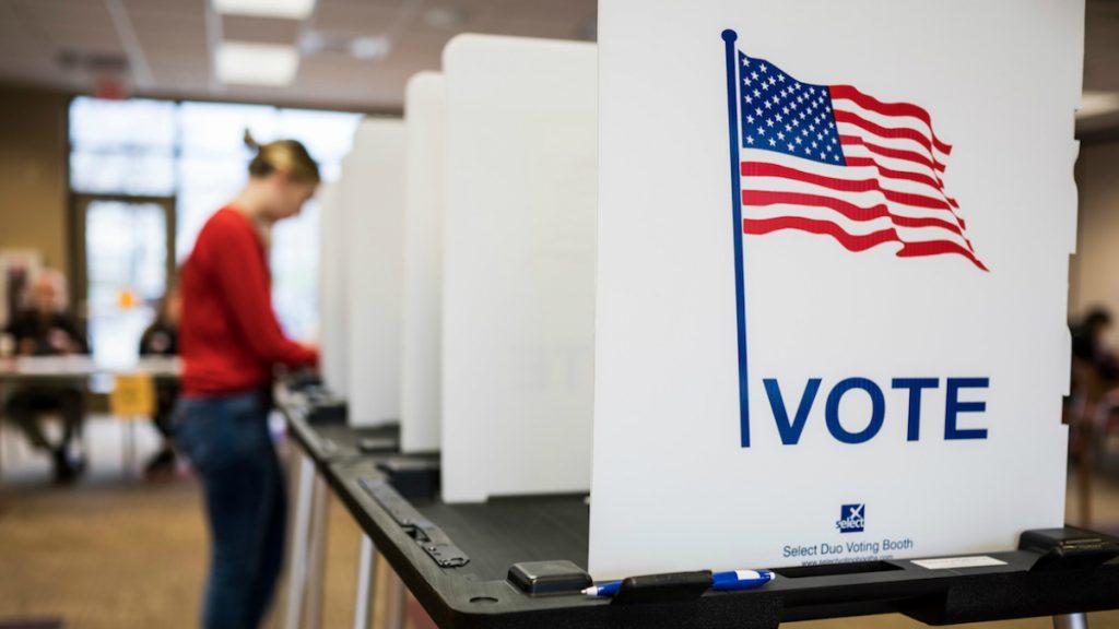 us polling booth donald trump and joe biden