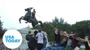 Protesters vandalized and attempted to take down Andrew Jackson statue | USA TODAY 4