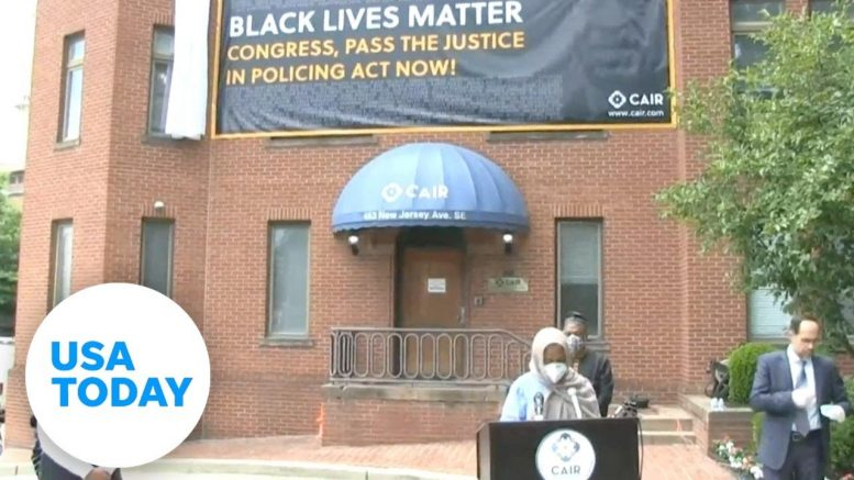 CAIR unveils Black Lives Matter banner in honor of George Floyd | USA TODAY 1