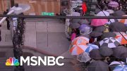 Seattle Protesters Use Umbrellas To Guard Against Possible Pepper Spray | The 11th Hour | MSNBC 3