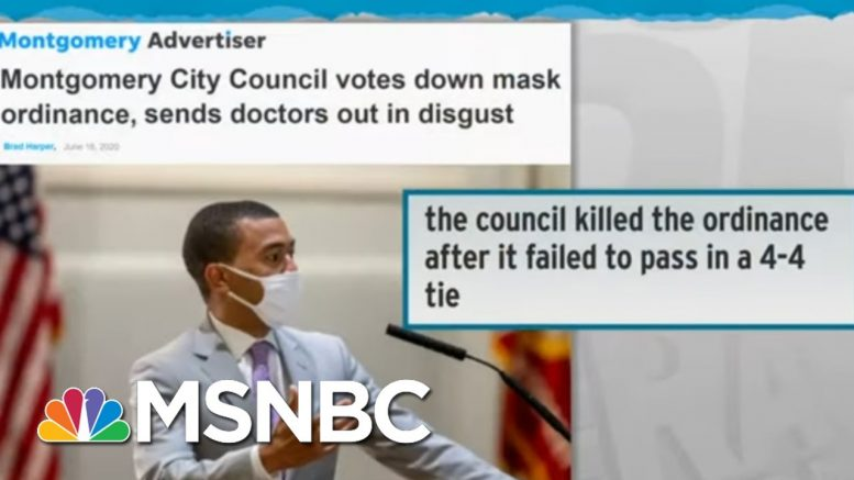 Montgomery City Council Rejects Mask Rule Over Pleas Of Doctors | Rachel Maddow | MSNBC 1