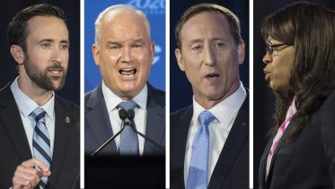 Which candidate managed to come out ahead after the Conservative leadership debate? 2