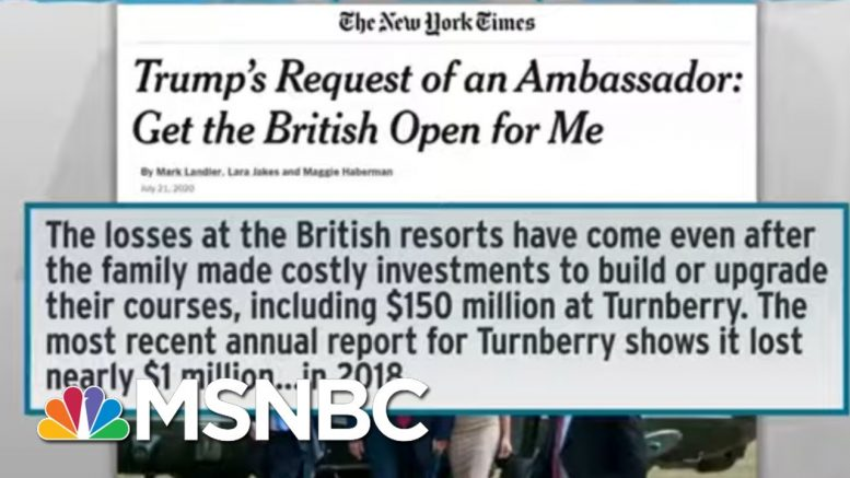 Trump Pushed Diplomat To Boost Golf Club At Expense Of US Stature: NYT   Rachel Maddow   MSNBC 1