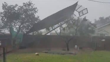Backyard fence torn apart by Hurricane Hanna 6