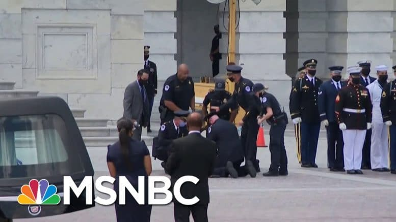 Rep. John Lewis' Honor Guard Appears To Faint During U.S. Capitol Ceremony | MSNBC 1