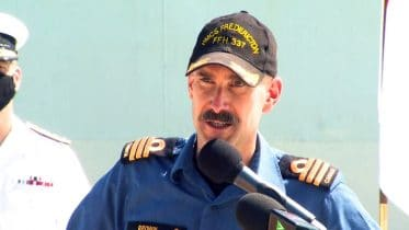 HMCS Fredericton commanding officer addresses crew upon return to Canada 10