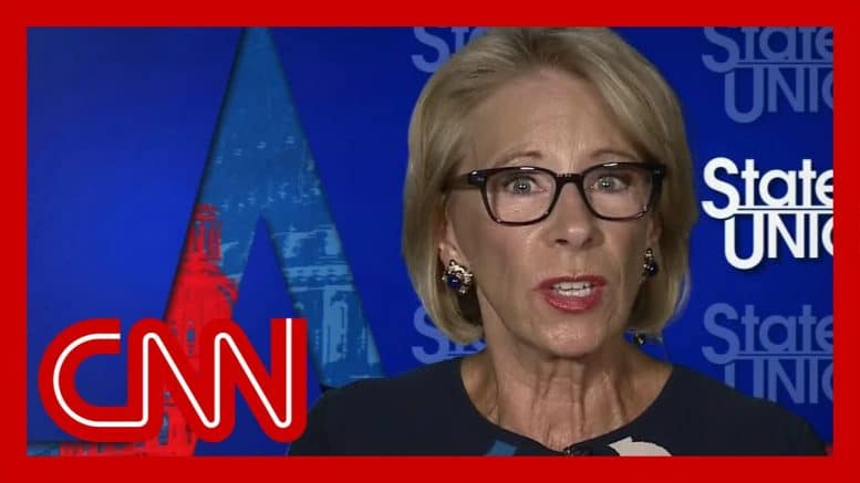 DeVos asked if she has a plan to reopen schools. See her response 1