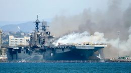 Massive fire breaks out on U.S. assault vessel in San Diego, could cause the ship to sink 8