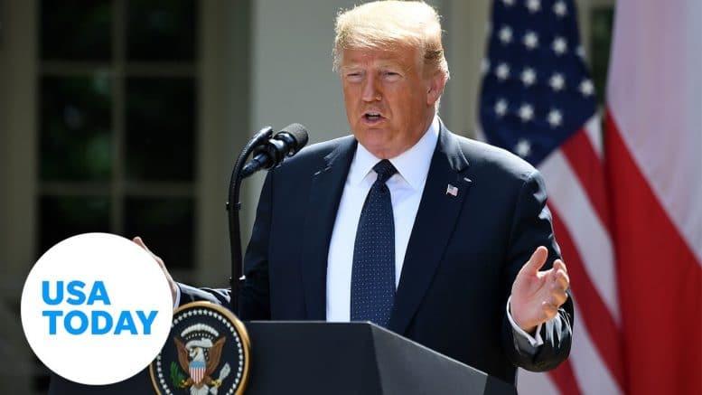 President Donald Trump speaking at the White House Rose Garden. 1