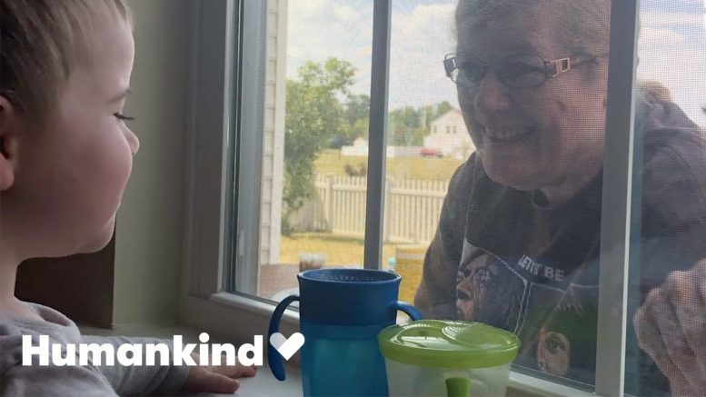 Toddler gets the giggles when grandparents visit window | Humankind 1