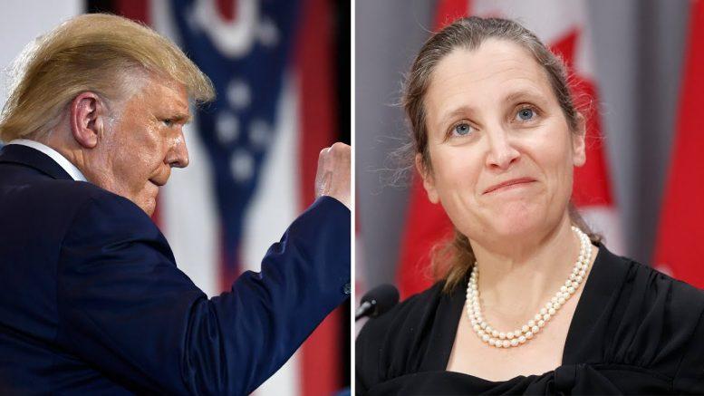 """We will not back down"": Canada ready to retaliate against Trump's 'absurd' tariffs says Freeland 1"