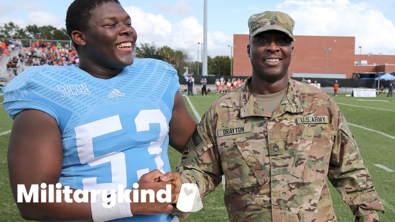 Soldier sneaks up on football player son | Humankind 7