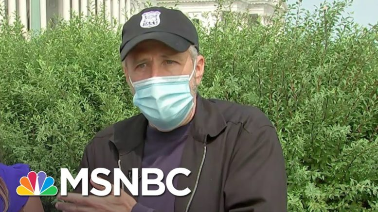 Jon Stewart Backing Bill To Help Veterans Affected By Toxic Burn Pits   Andrea Mitchell   MSNBC 1