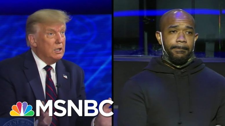 Voter Pushes Trump To Acknowledge Nation's Race Problem. Trump Wouldn't. | The 11th Hour | MSNBC 1