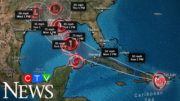 Simultaneous tropical storms heading towards U.S. 2