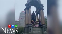 Sir John A. Macdonald statue toppled and beheaded in Montreal at protest 7