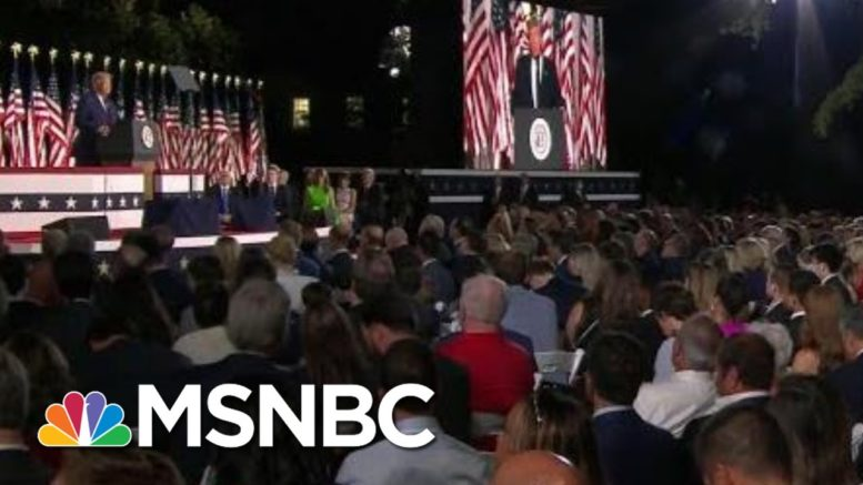 Few Masks, Little Social Distancing At Final Night Of RNC | Morning Joe | MSNBC 1