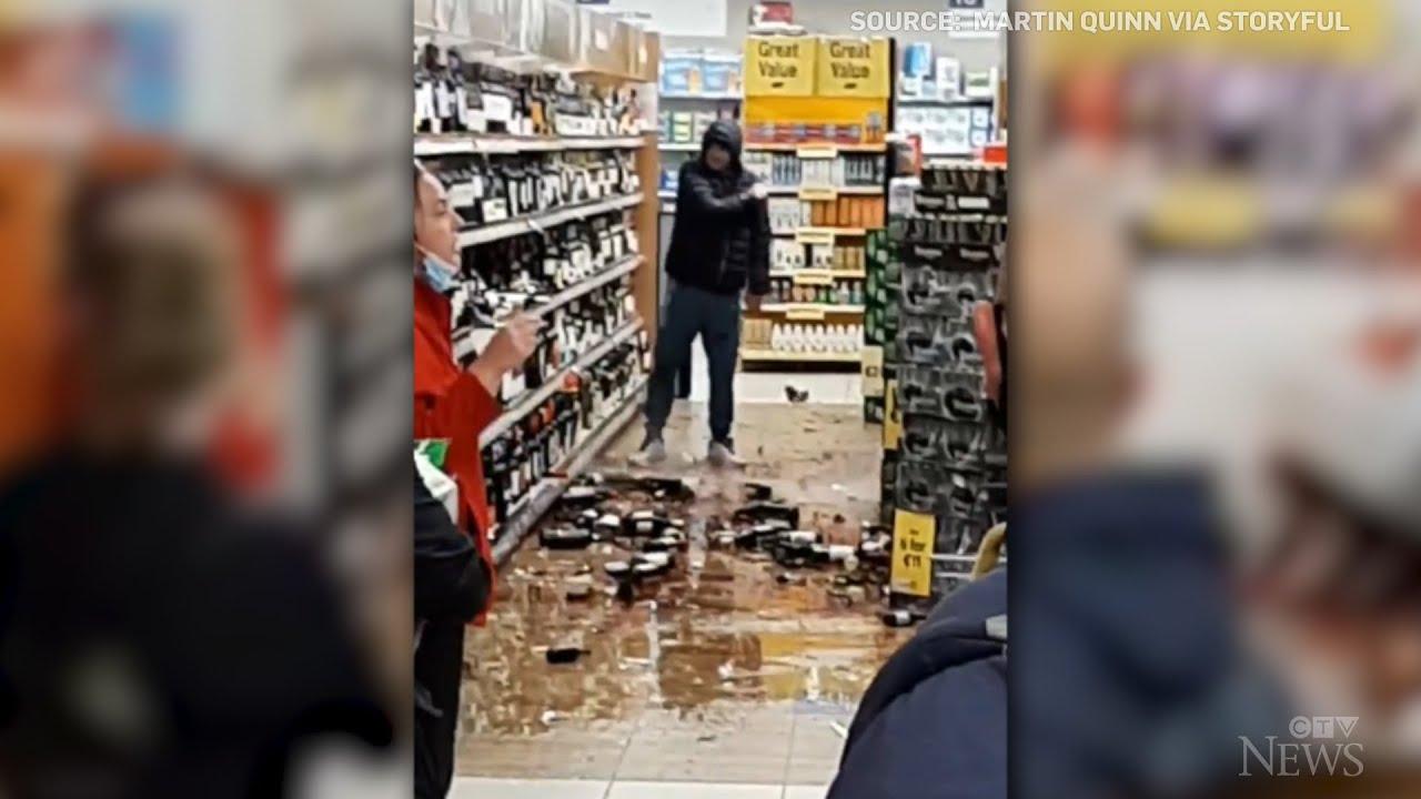 Caught on cam: Irish man smashes dozens of liquor bottles 3
