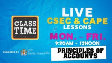 Principles of Accounts 9:45AM-10:25AM | Educating a Nation - October 21 2020 6