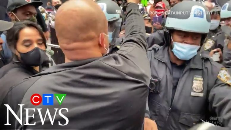 Clashes between Trump supporters and counter-protesters in NYC 1