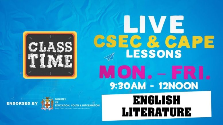 English Literature 9:45AM-10:25AM | Educating a Nation - October 27 2020 1