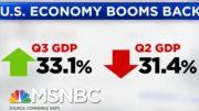 U.S. GDP Grows 33 Percent, Still Below Pre-Pandemic Levels | Hallie Jackson | MSNBC 4