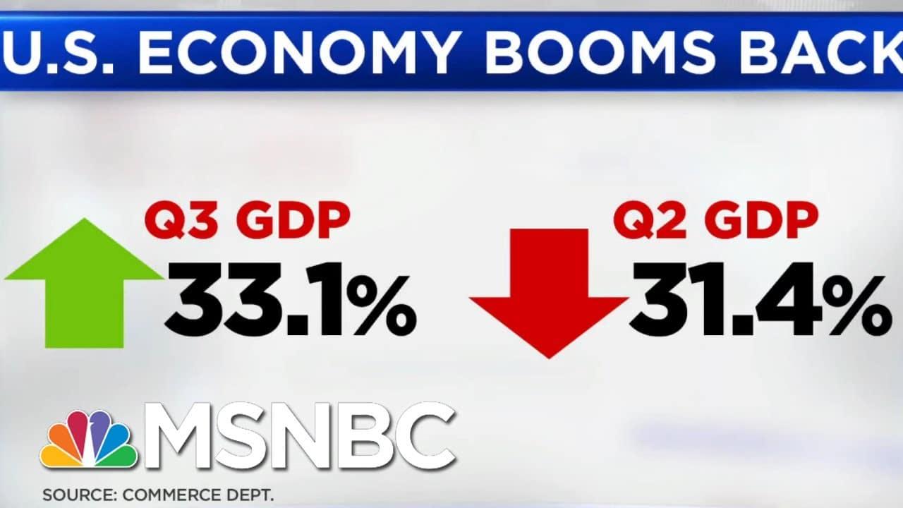 U.S. GDP Grows 33 Percent, Still Below Pre-Pandemic Levels | Hallie Jackson | MSNBC 1