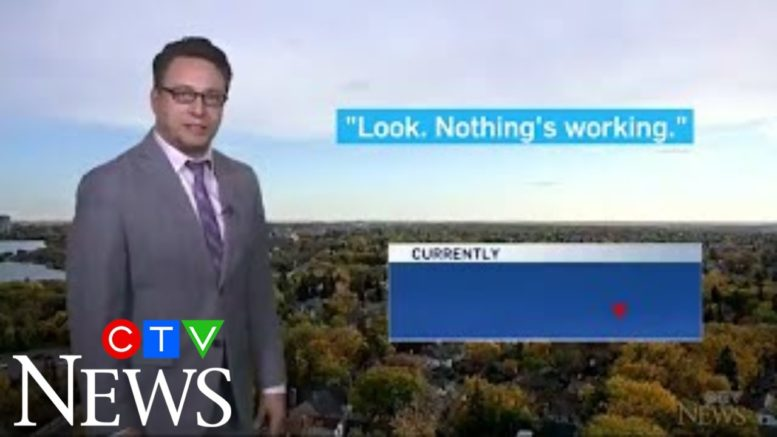WATCH: CTV News Regina meteorologist pulls off forecast full of funny quips amid a power outage. 1
