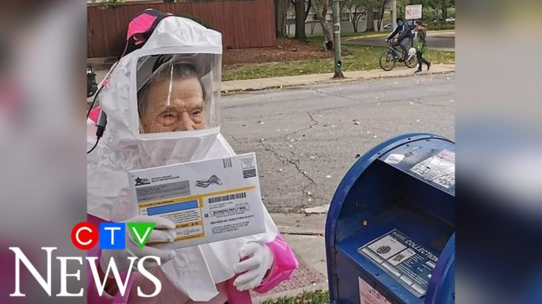 102-year-old Chicago woman casts mail-in ballot in full PPE 1