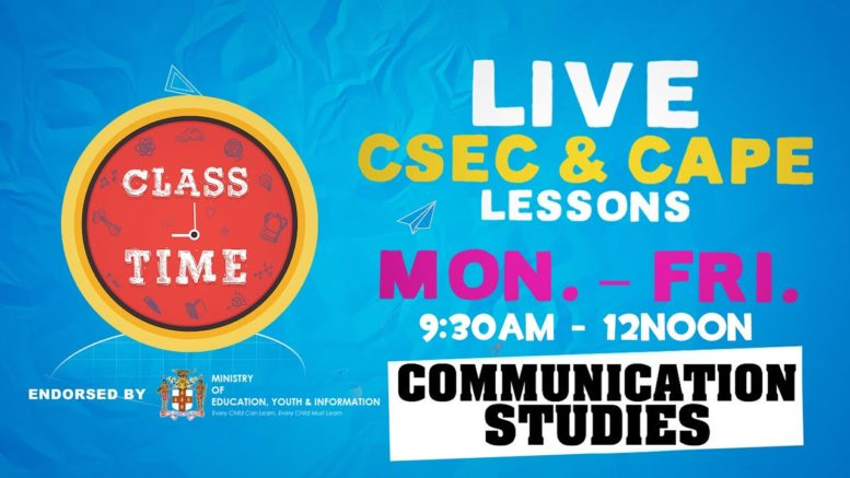 CAPE Communication Studies 11:15AM-12PM | Educating a Nation - October 12 2020 1