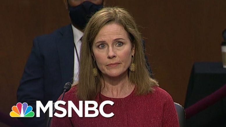Barrett Says She Has Made No Precommitments On Supreme Court Cases Or Obamacare | MSNBC 1