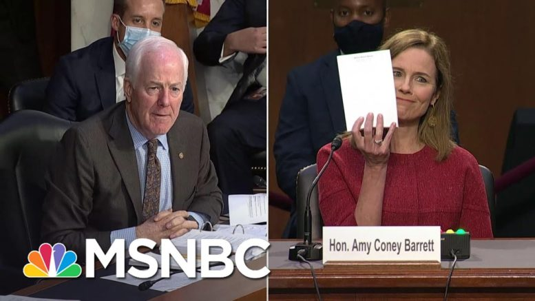 Republican Senator Asks Amy Coney Barrett To Show Her Blank Notepad At Confirmation Hearing | MSNBC 1