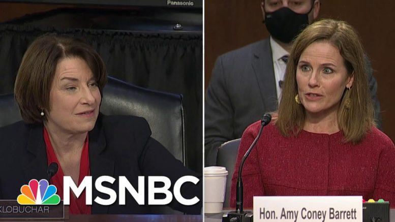 Amy Klobuchar Questions Barrett On What Court Rulings Qualify As 'Super Precedent'   MSNBC 1