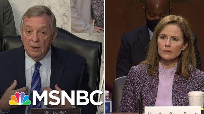 Durbin Presses Barrett On President's Ability To Deny Right To Vote Based On Race | MSNBC 1