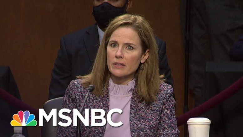 Amy Coney Barrett Says She Never 'Cut A Deal' With Trump On Obamacare | MSNBC 1