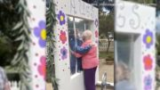 COVID-19-proof hug booth set up at care facility 3