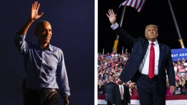 Comparing the message at Trump and Obama's competing campaign rallies 6