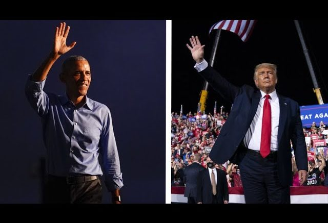 Comparing the message at Trump and Obama's competing campaign rallies 1