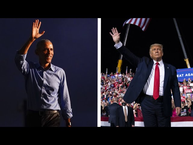 Comparing the message at Trump and Obama's competing campaign rallies 9