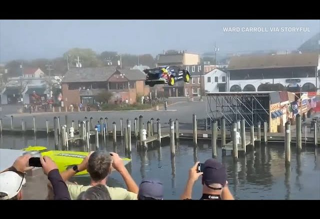 Watch a stunt driver clear a Maryland waterway in a car over a speeding boat 1
