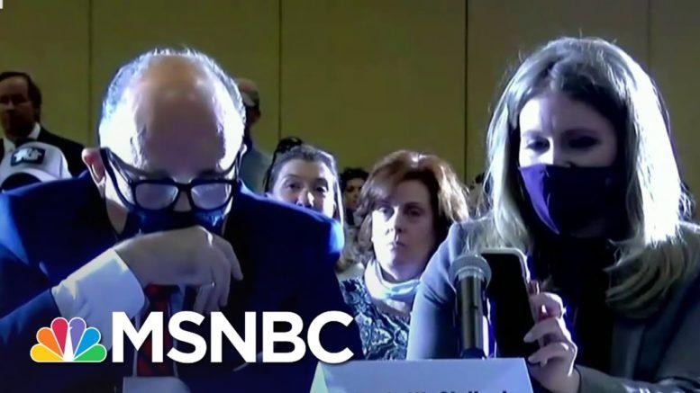 Trump Speaks Via iPhone Speaker Into 'Hearing' On Baseless Fraud Claims   Ayman Mohyeldin   MSNBC 1