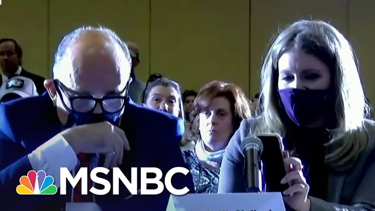Trump Speaks Via iPhone Speaker Into 'Hearing' On Baseless Fraud Claims | Ayman Mohyeldin | MSNBC 5