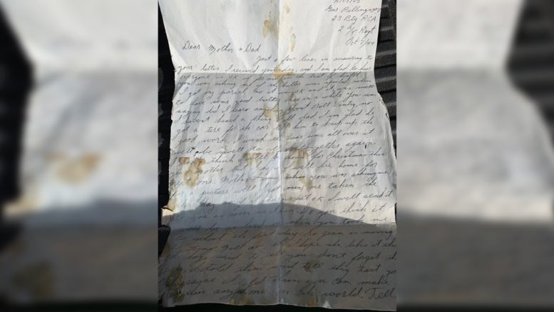 Second World War letter found behind wall of Ontario home 1