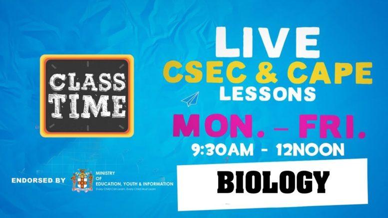 CSEC Biology 9:45AM-10:25AM | Educating a Nation - November 2 2020 1